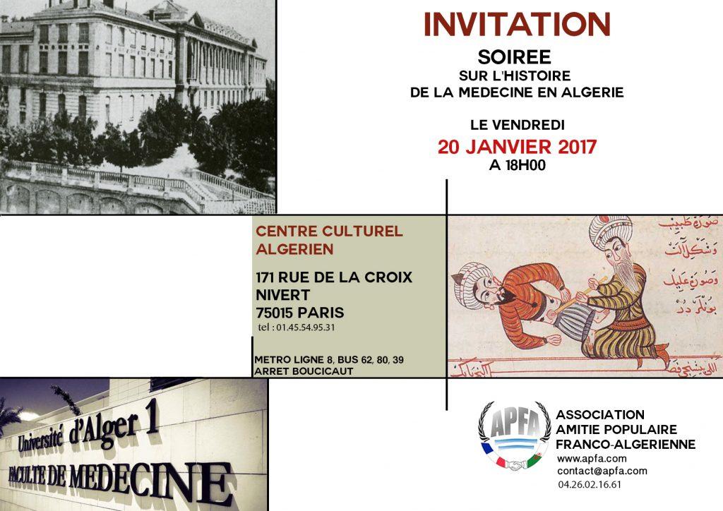 invitation histoire de la medecine algerienne